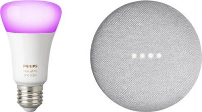 Google Nest Home Mini + Philips Hue Color Lamp